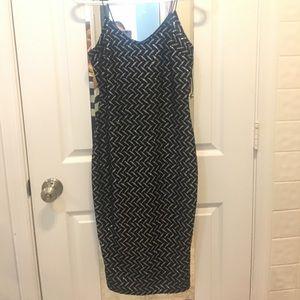 NWT River Island black & silver sparkle midi dress